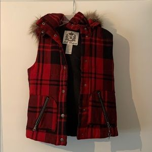 Red Vest with Detachable Fur Hood Size S